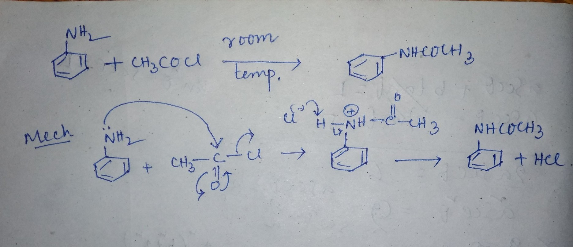 Acetanilide synthesis mechanism fron aniline and acetyl