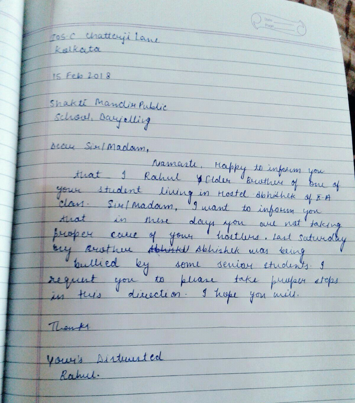 You are Rajni of 105-c,Chatterjee Lane Kolkata  You have received a