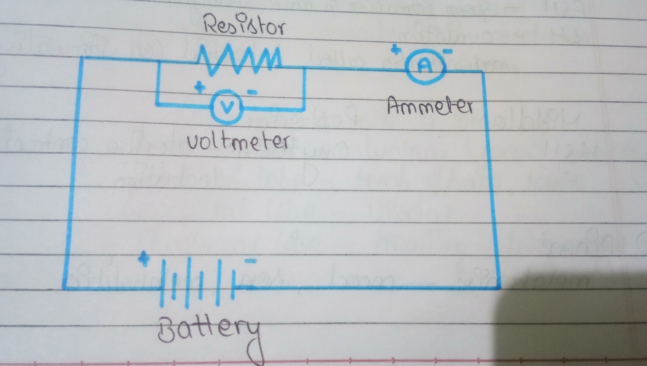 4f1be361529e78 Draw the electric circuit with the help of a battery voltmeter ...