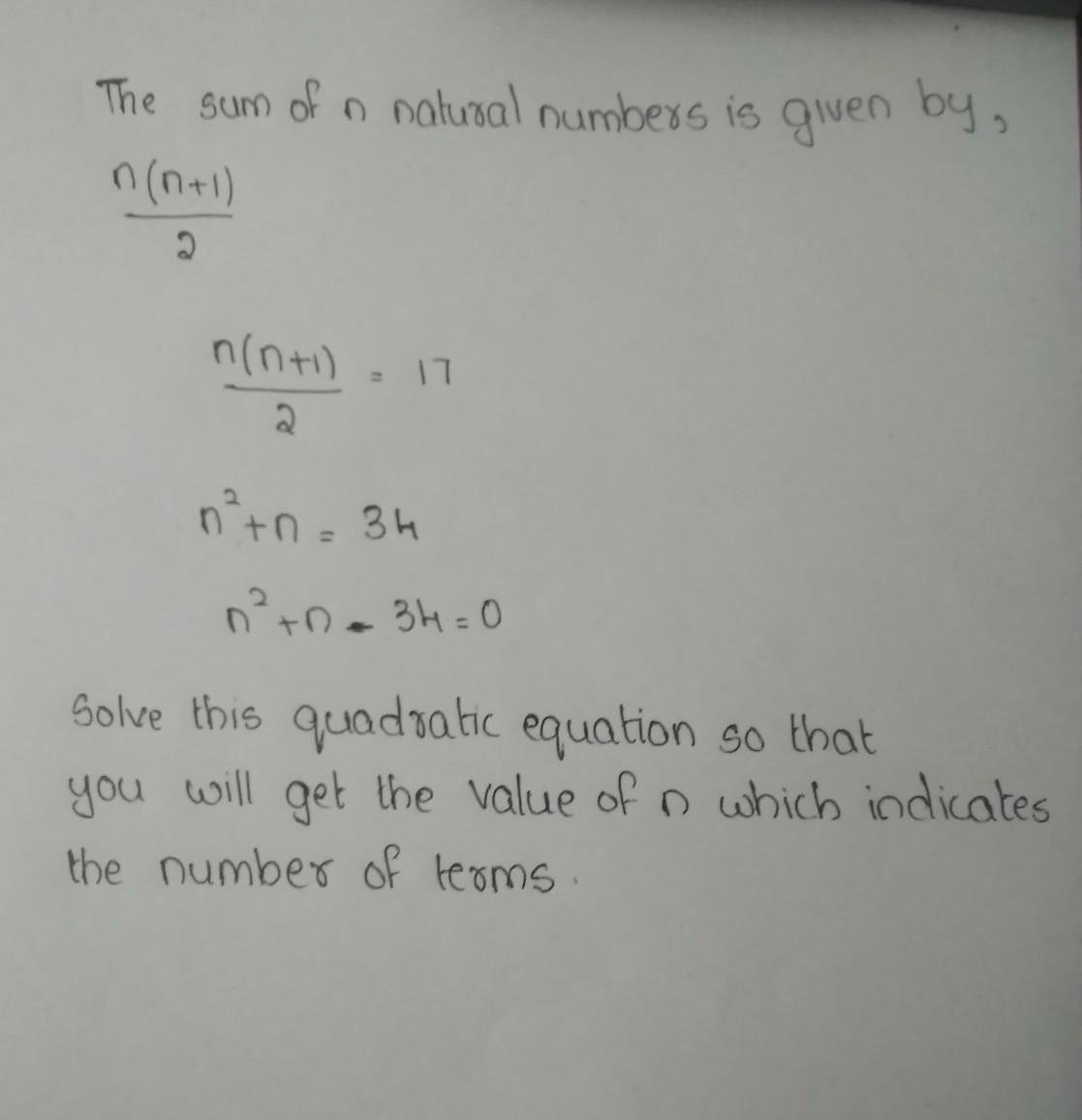 Mean of first n natural numbers