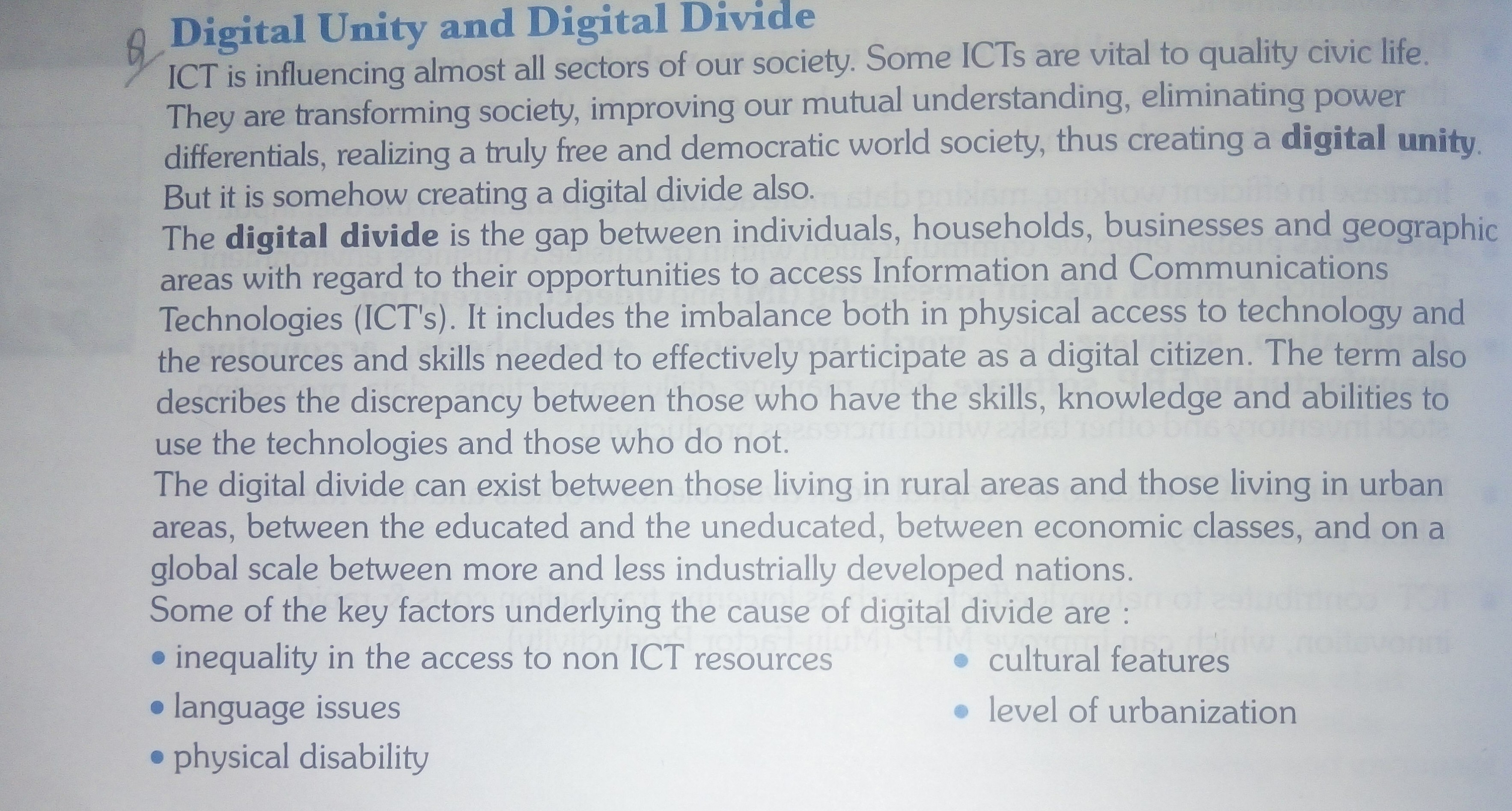 What is Digital Unity and Digital Divide in easy language Class 10