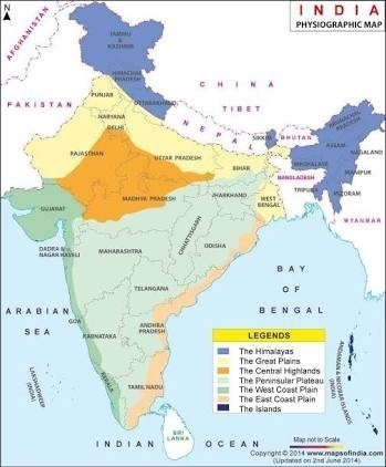 Physical Features Of India Map write a short note on 6 physical features of India with map  Physical Features Of India Map