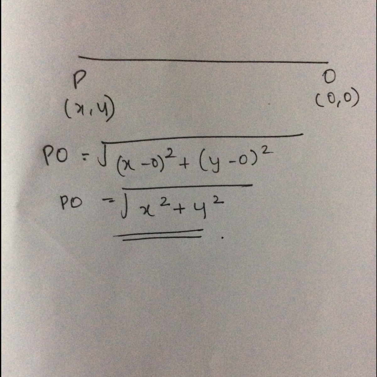 find the distance of a point p(x,y) from the origin - Brainly in