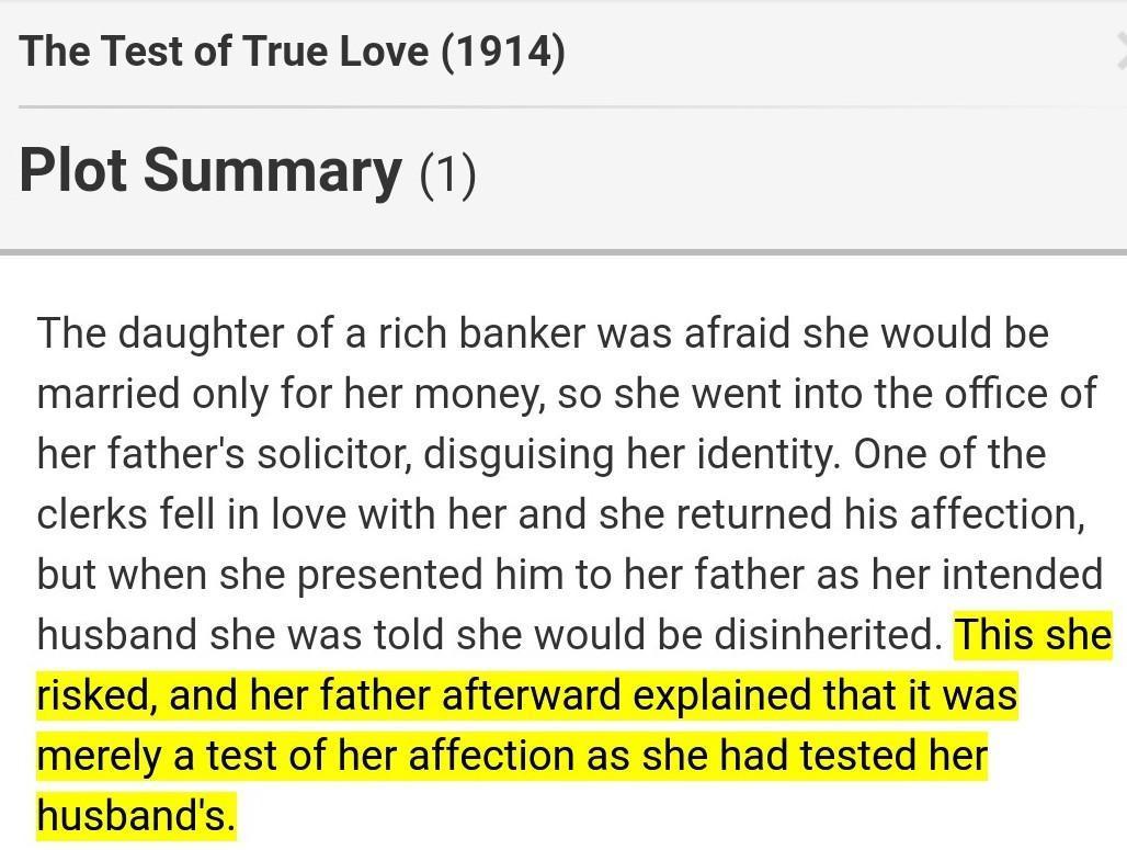 Test the true love True Love