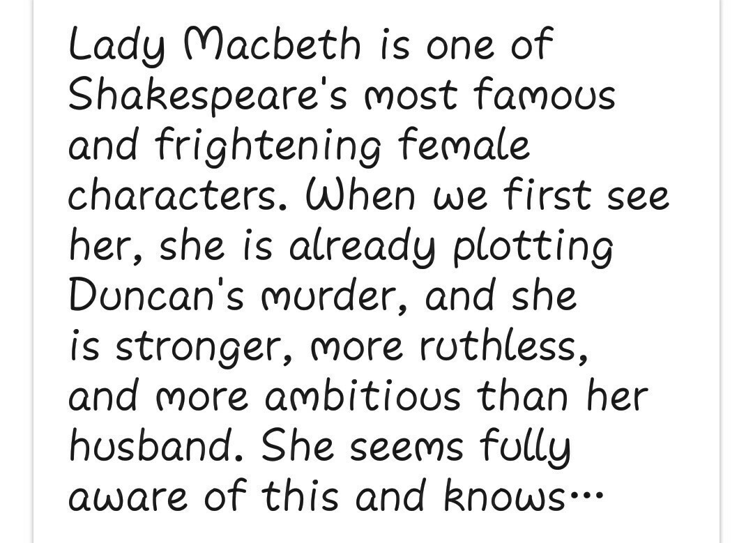 Briefly Describe The Character Of Lady Macbeth In A Few Lines