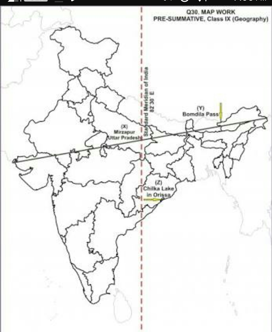 Locate Standard Meridian of India in political map of India - Brainly.in