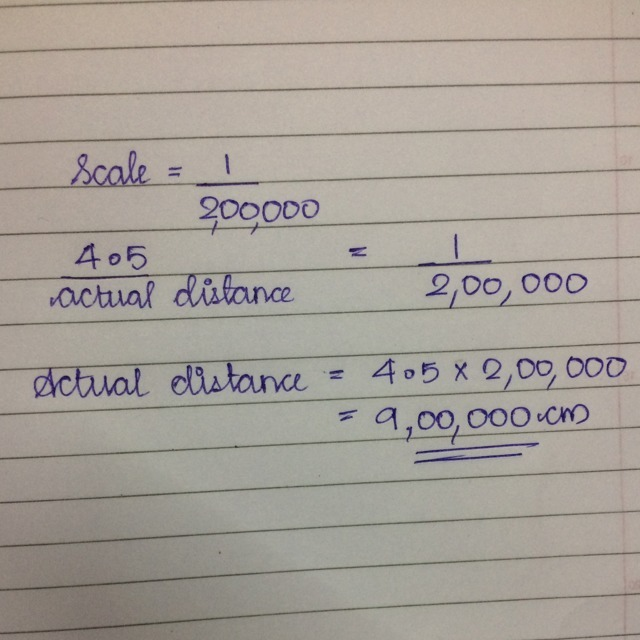 The scale of a map is 1:200000 what actual distance does 4.5 ...