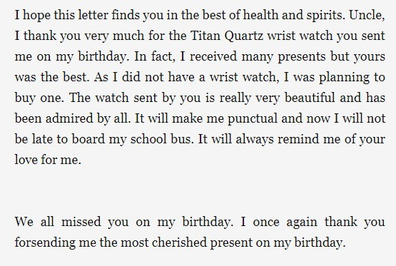 Write A Letter To Uncle Thanking Him For The Gift Which He Send
