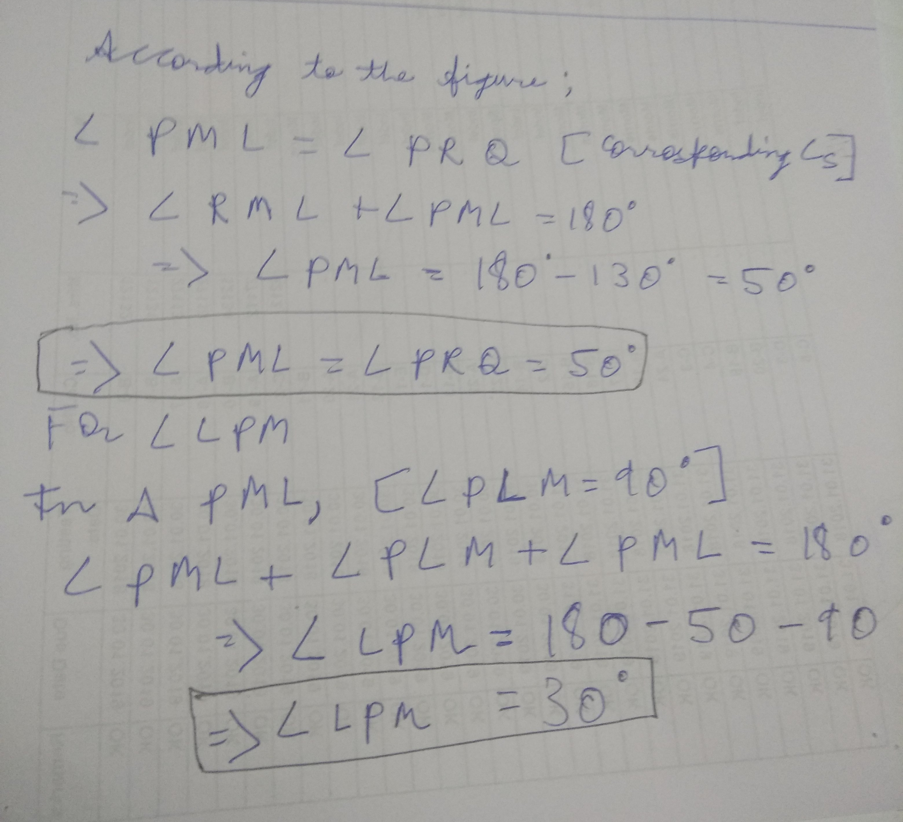 in the figure triangle PQR is a right angled at Q, ML is