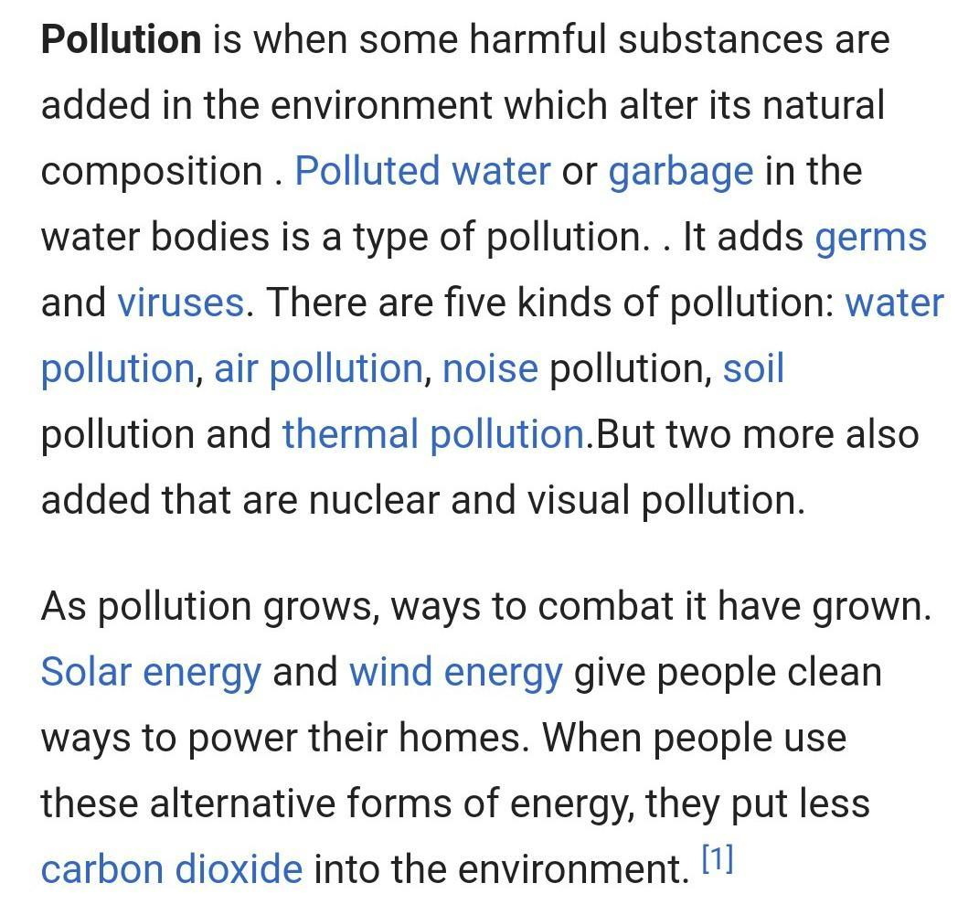 write an essay on pollution
