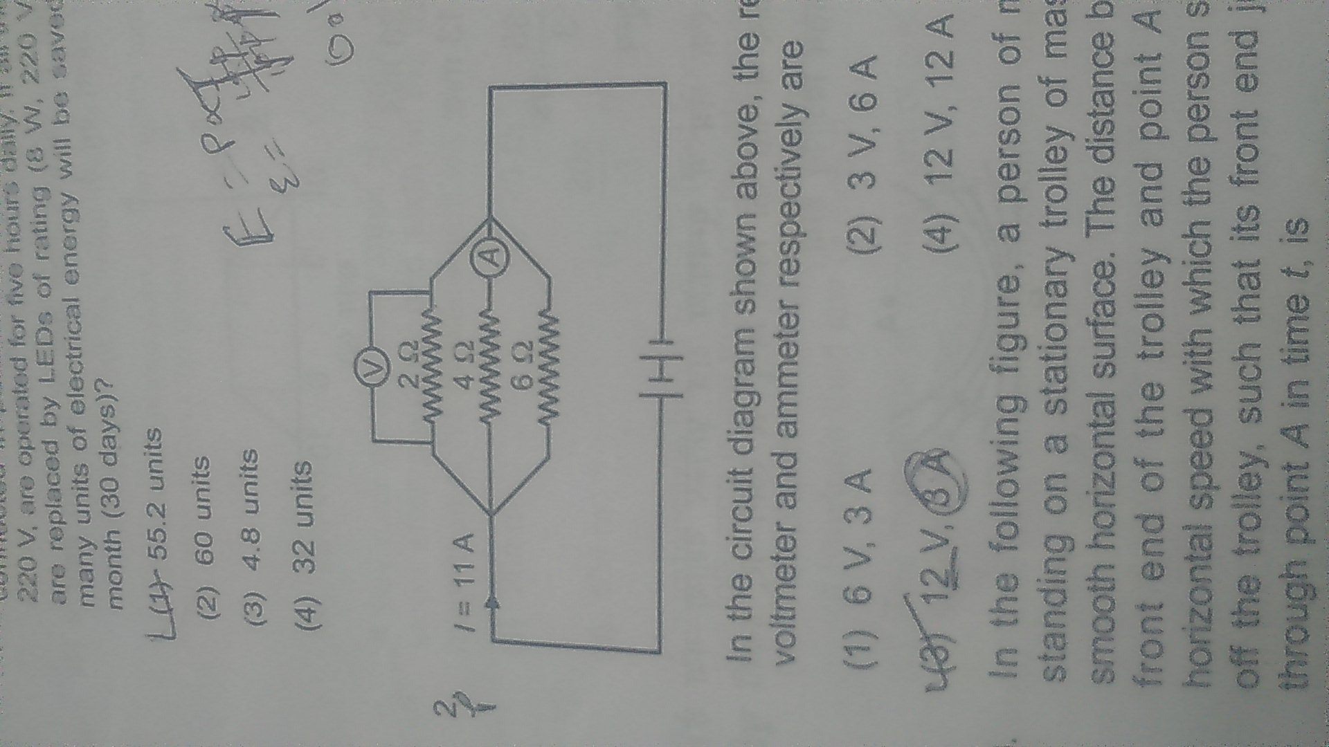 In The Circuit Diagram Show Above Readings Of Voltmeter And Download
