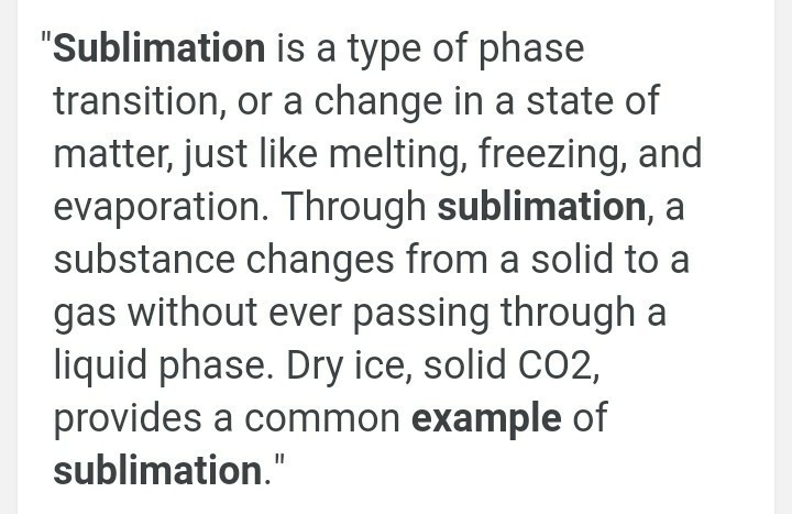 Define Sublimation With Example Brainly