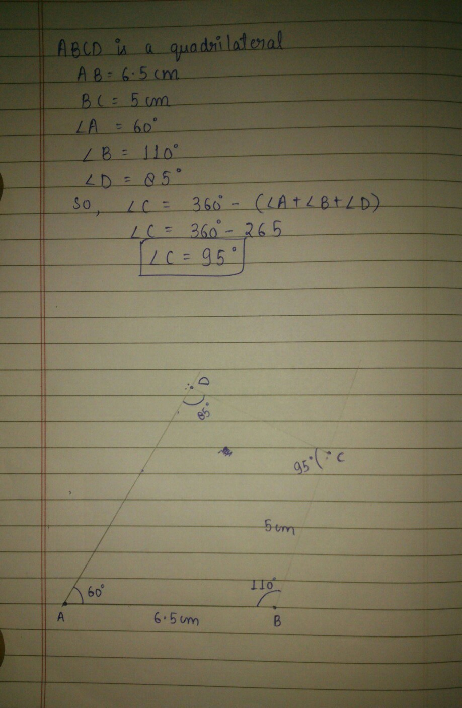 Construct A Quadrilateral ABCD In Which AB65CM BC5CM Angle A60