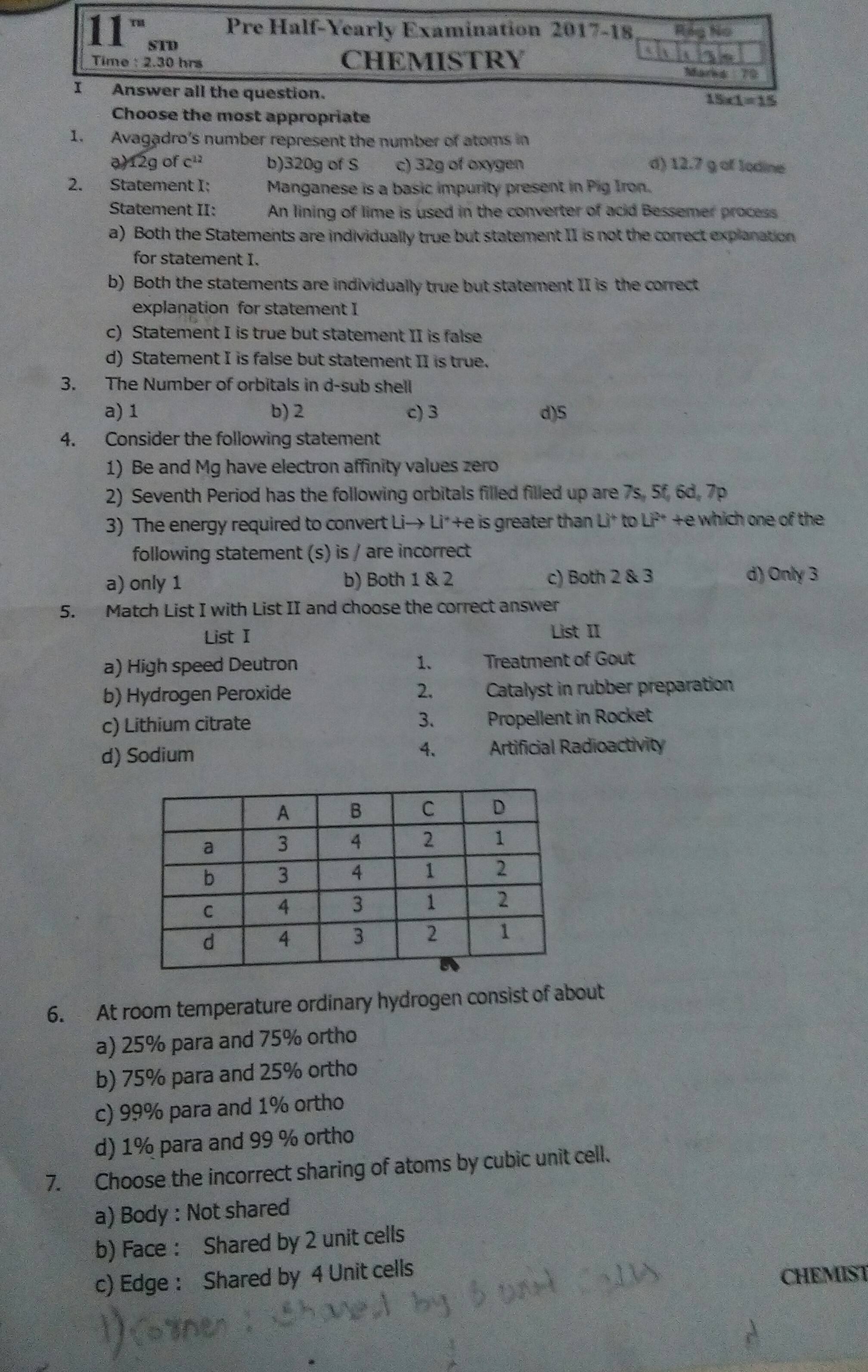 Write the ans for all chemistry questions 1 - 7 plzz - Brainly in