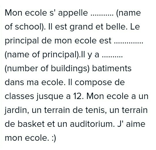 essay about my school written in french language in  jpg