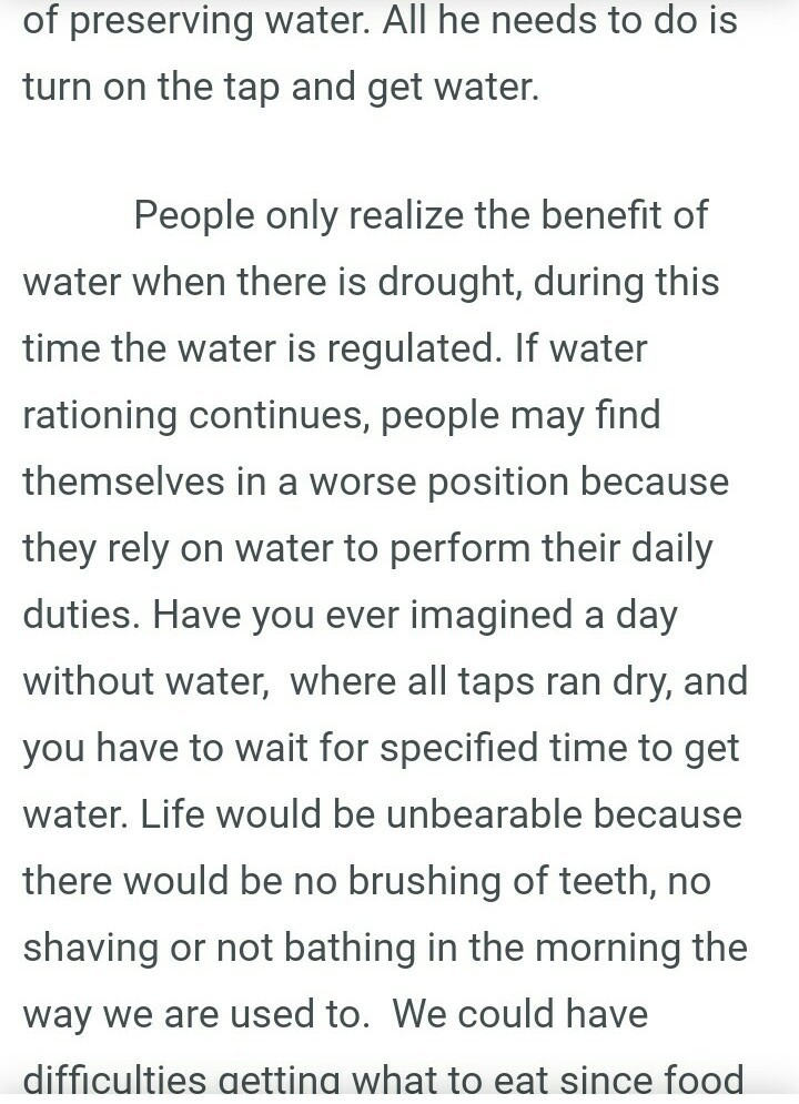 essay on life without water