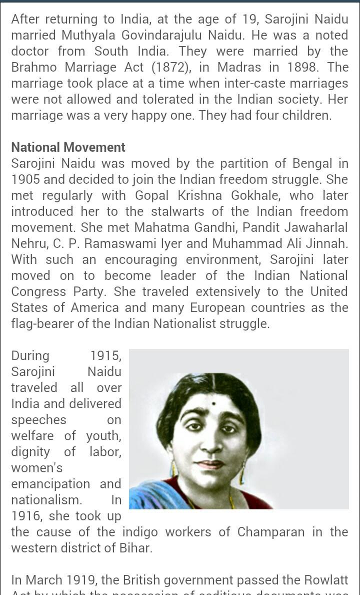 biography of sarojini naidu - Brainly in