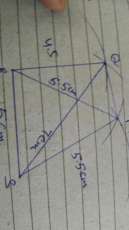 Construct a quadrilateral PQRS in which PQ = 4.5 cm, QR