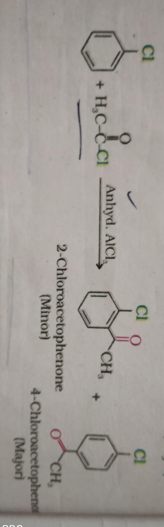 benzene reacts with acetyl chloride in presence of anhydrous