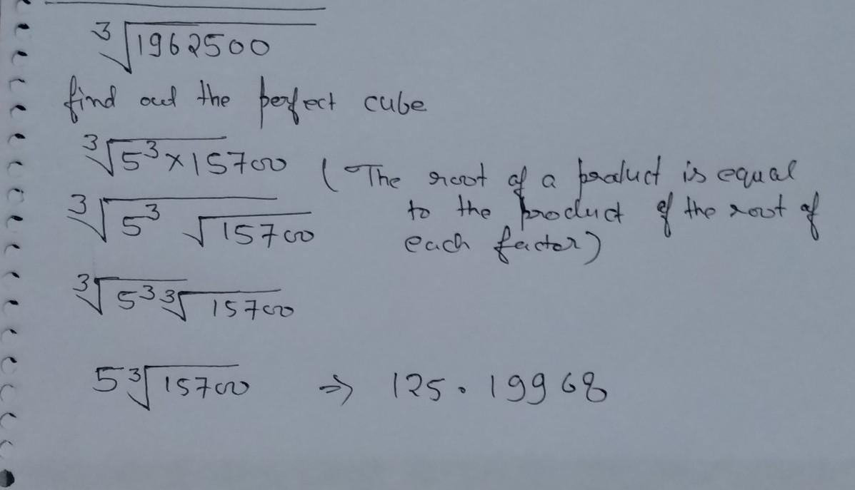 how to calculate cube root 1962500 - Brainly in