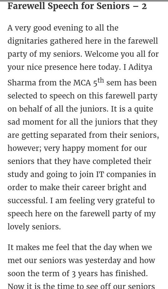 Farewell speech for seniors - Brainly in