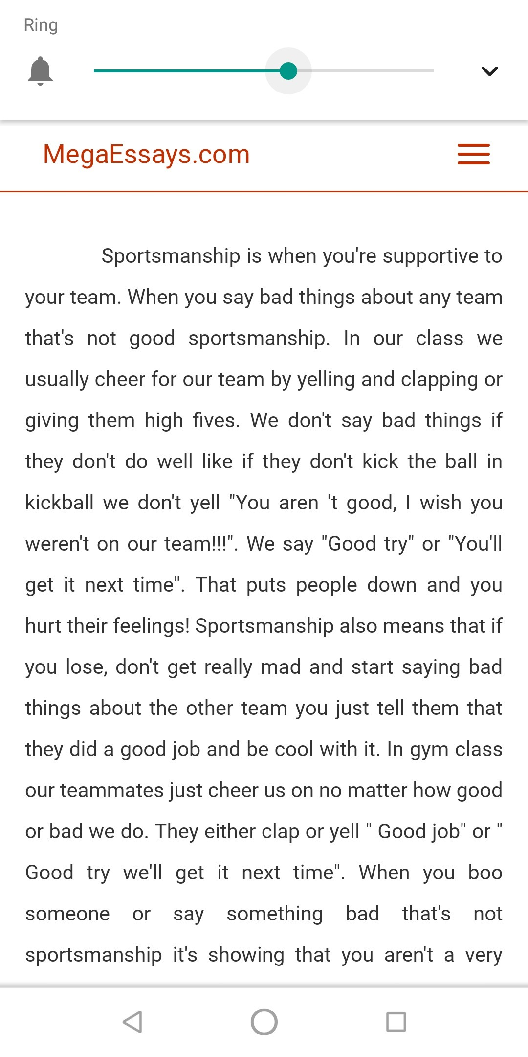 Very short essay on sports and sportsmanship