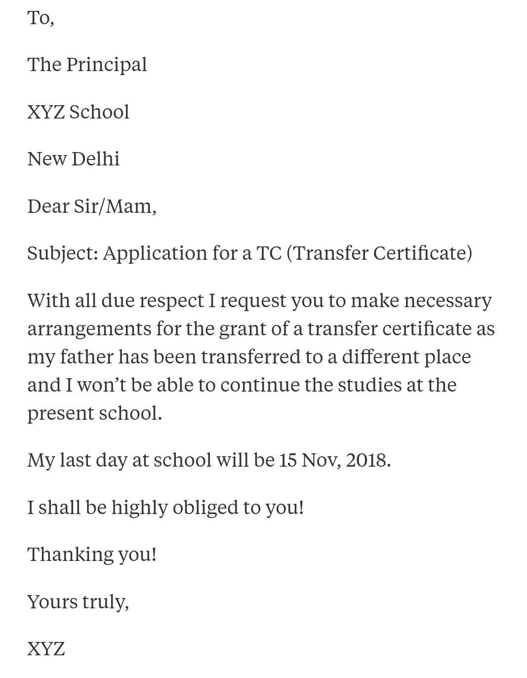 Write A Letter To Get Tc From School