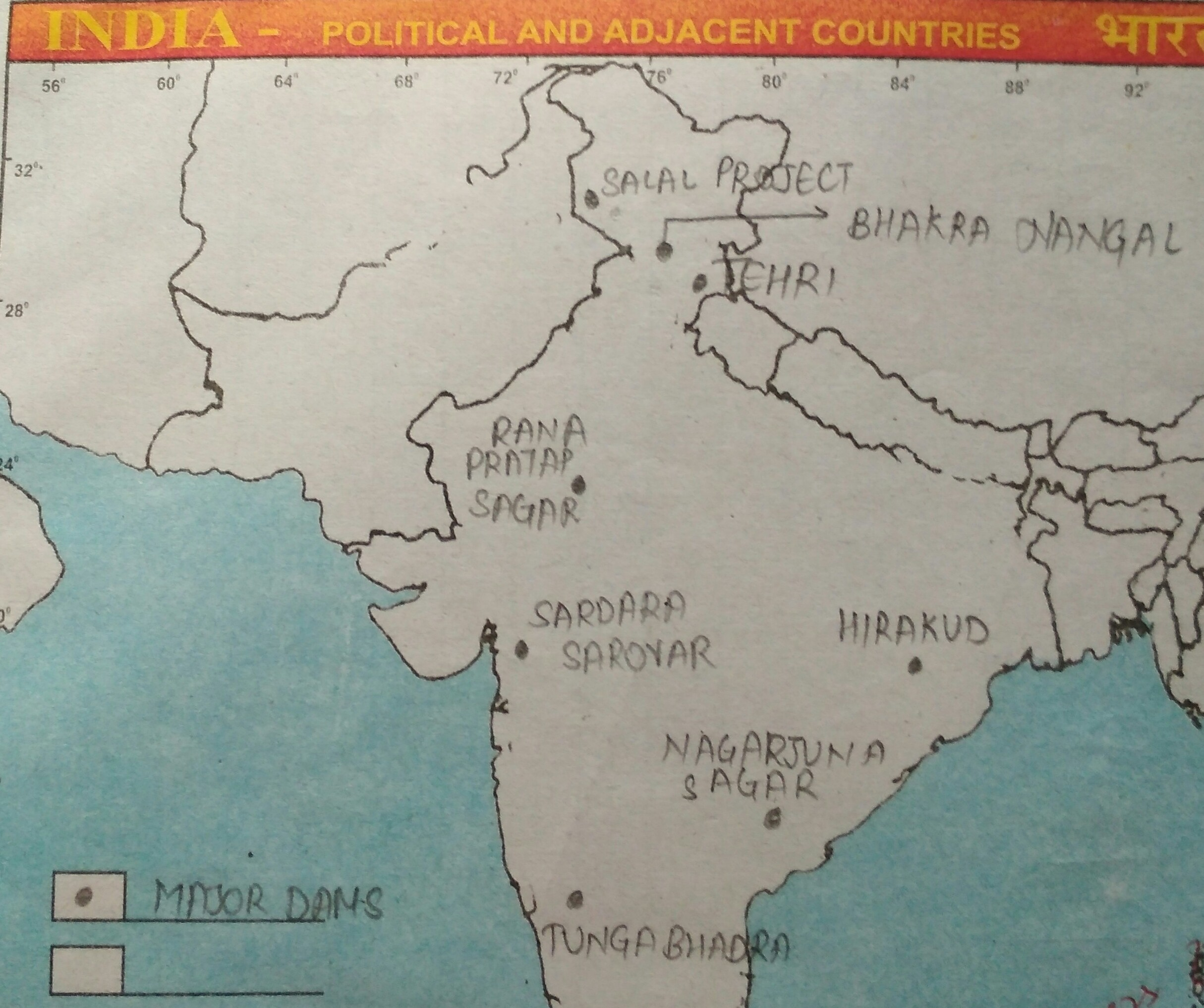 Locate All The Main Dams Of India On A Political Map Of India