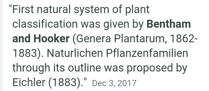 natural system of plant classification was proposed by