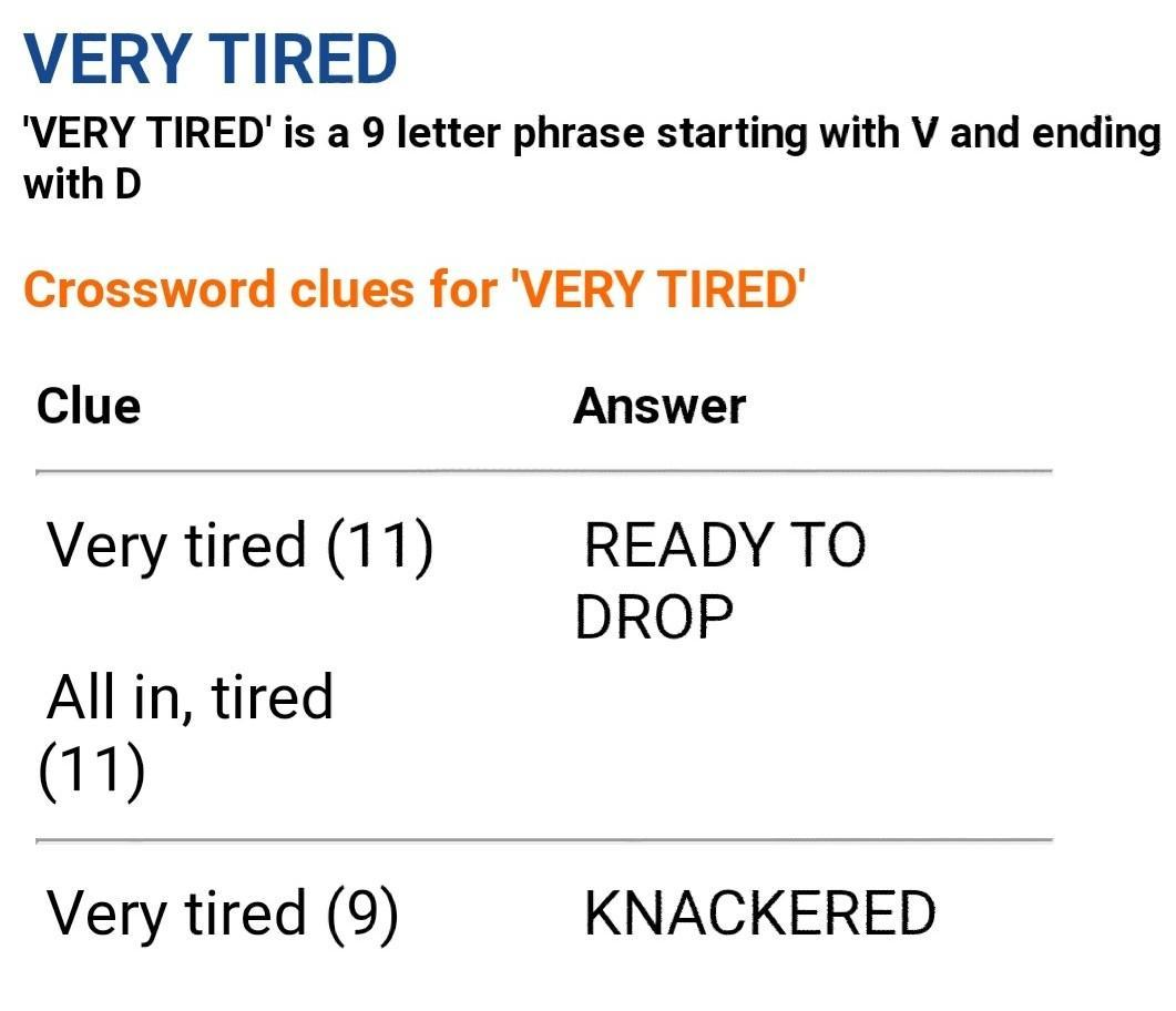 Very Tired Crossword Puzzle Answers 1 Letters Brainly In
