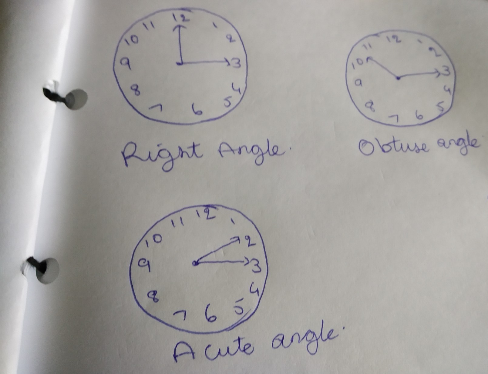 give examples of acute angle,right angle and obtuse angles