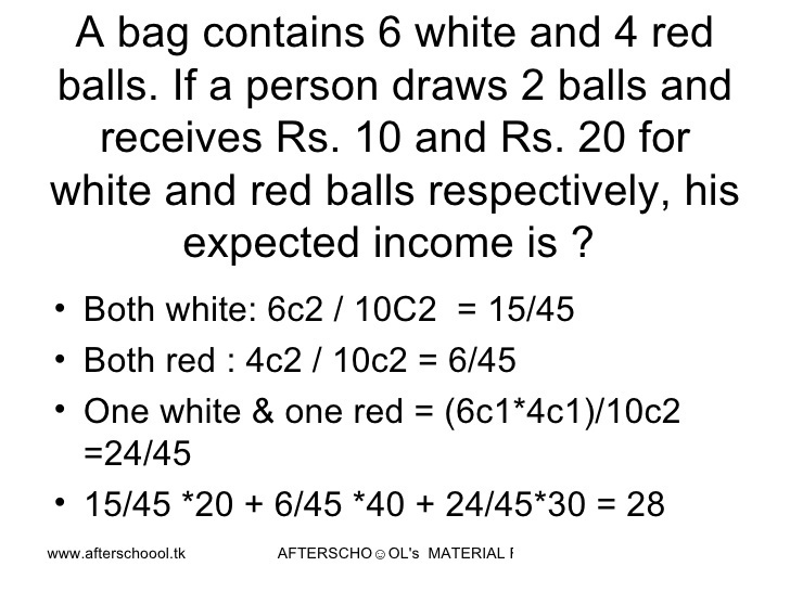 a bag contains 6 white and 4 red   If a person draws 2 balls