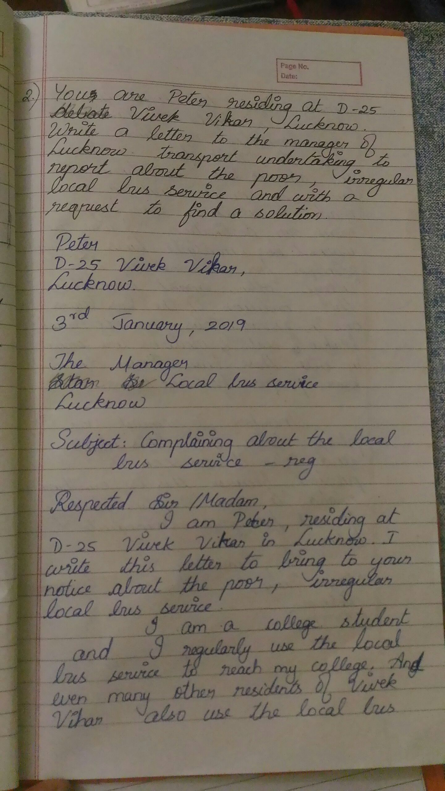 you are Peter residing at d 25 vivek vihar  write a letter