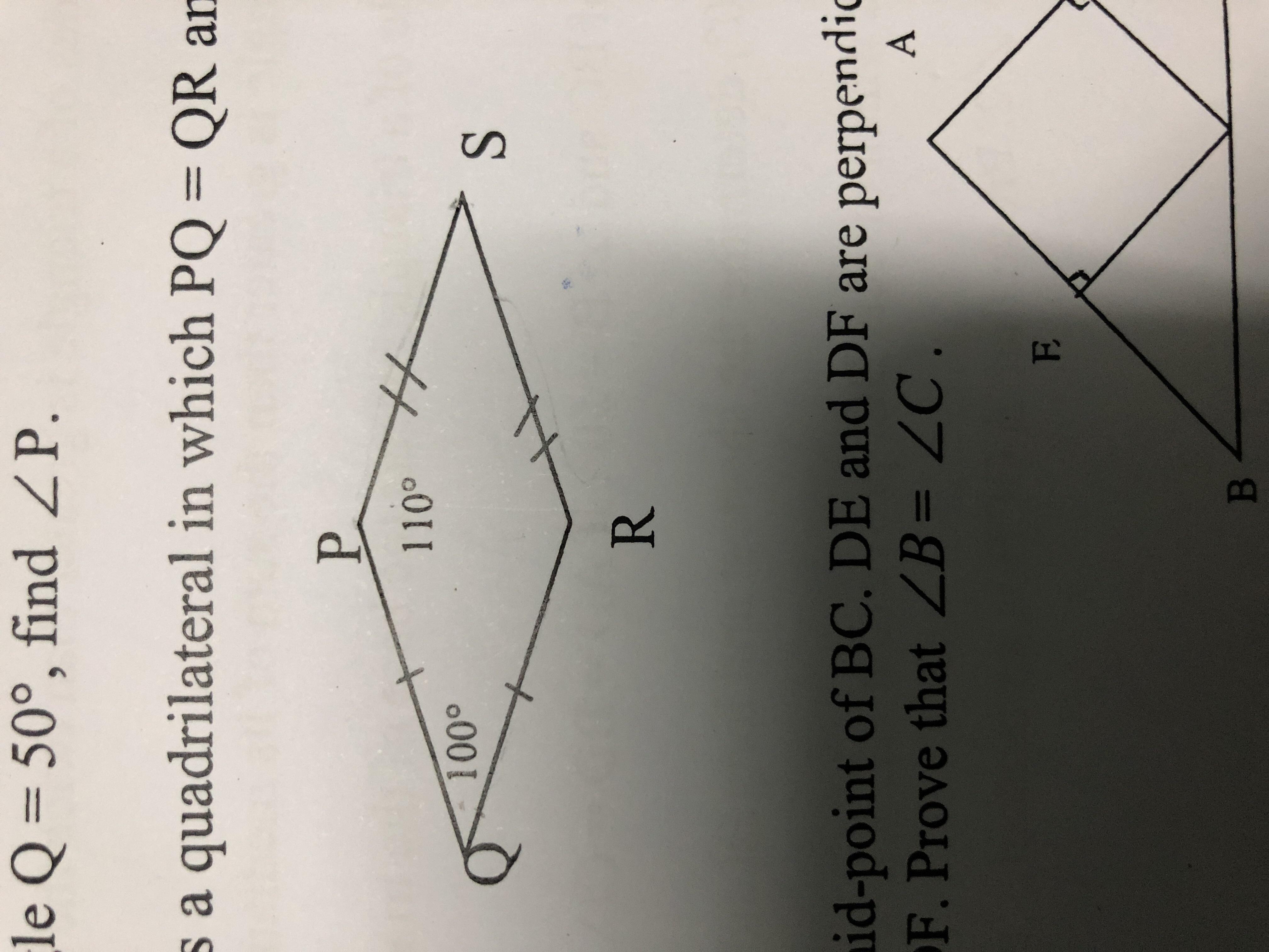 Construct a quadrilateral PQRS where PQ = 5.6 cm, angle Q
