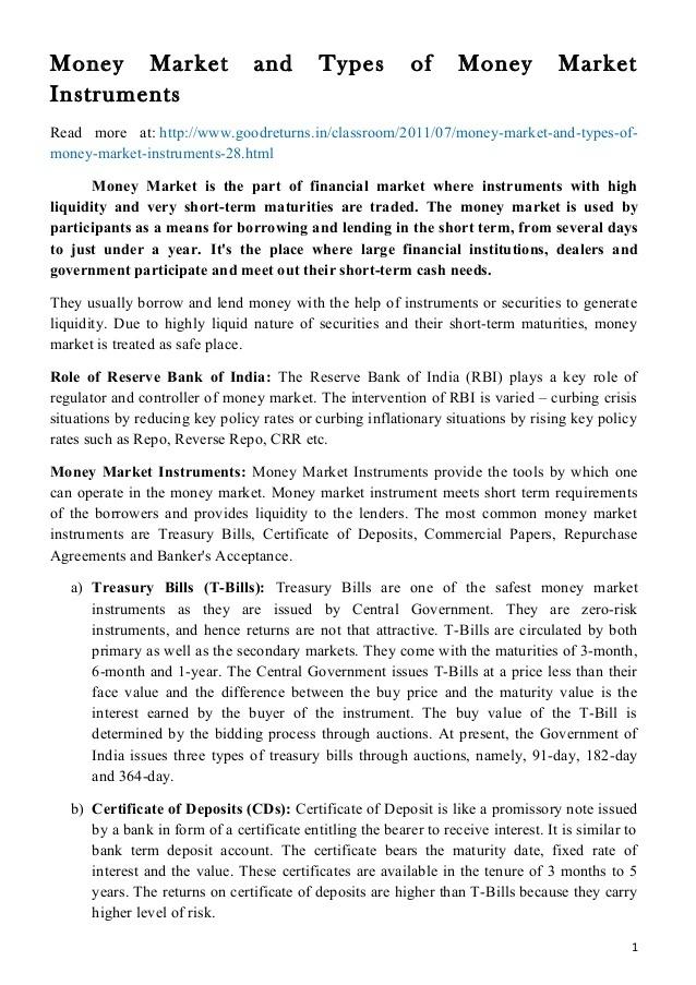 problems in indian money market