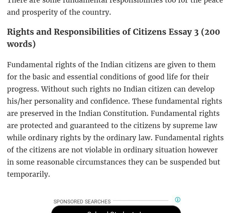 essay about responsibilities