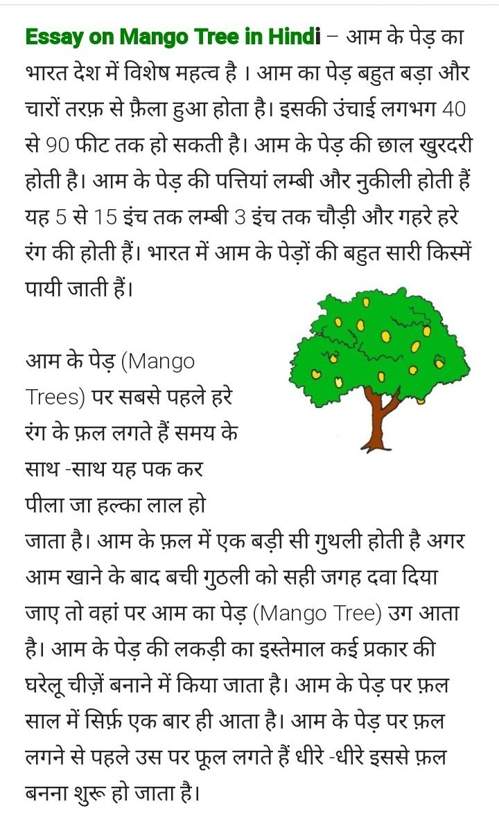 about mango in hindi in points