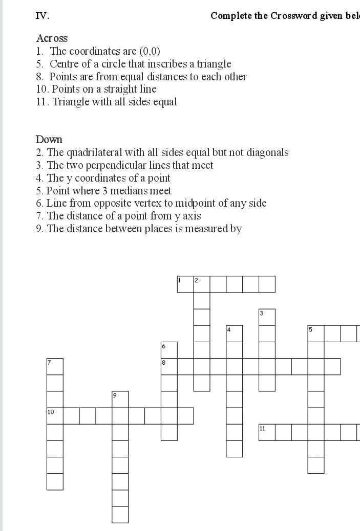 Crossword Puzzle On Coordinate Geometry Class 10 Brainly In