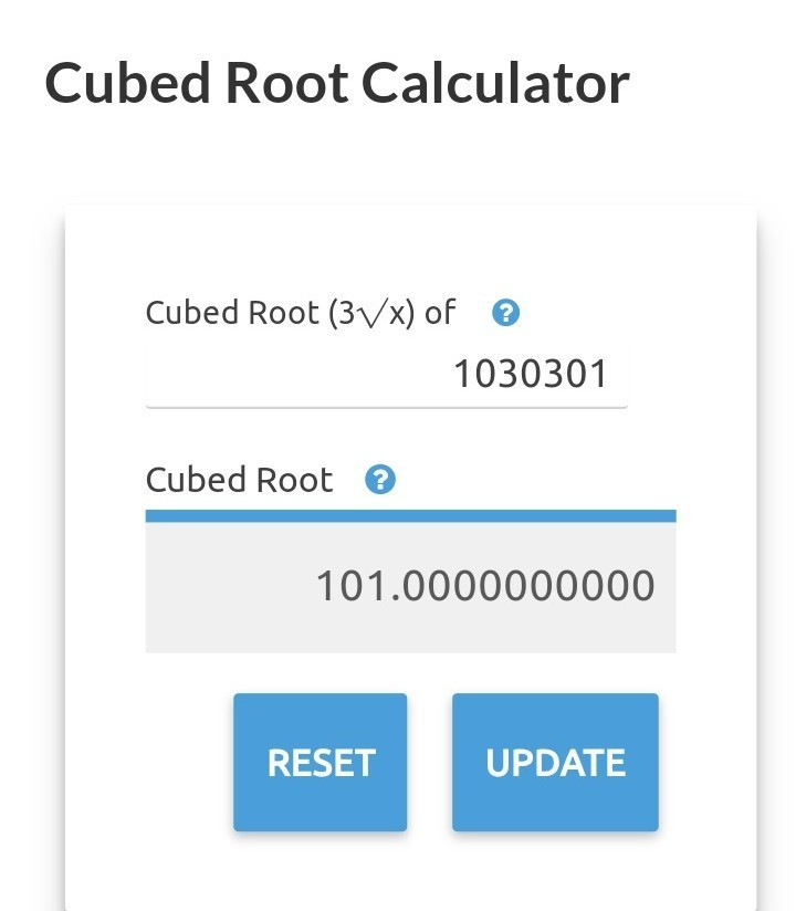 cube root of 1030301 is - Brainly in