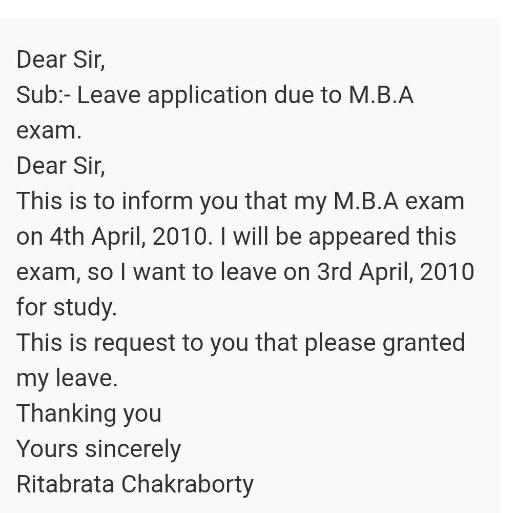 how to write application to for leave to going to give exam