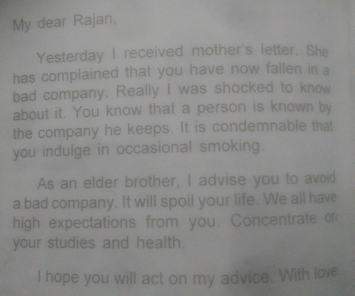 Write a letter to your younger brother advising him not to neglect