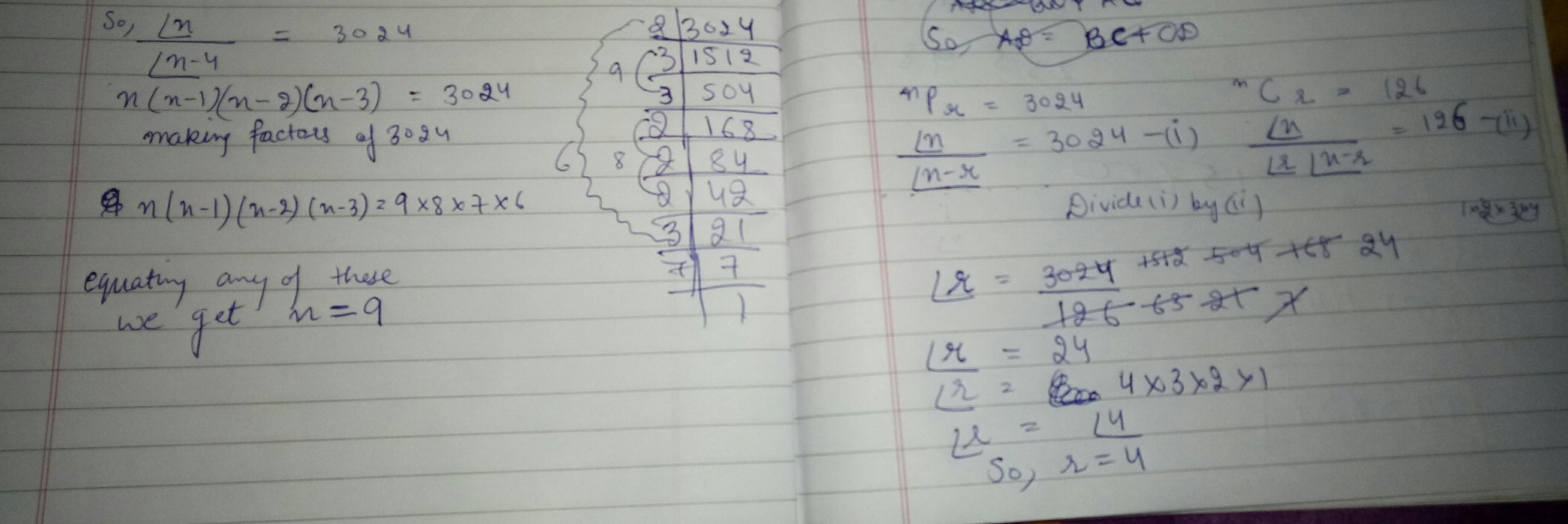 npr=3024 ncr =126 find n &