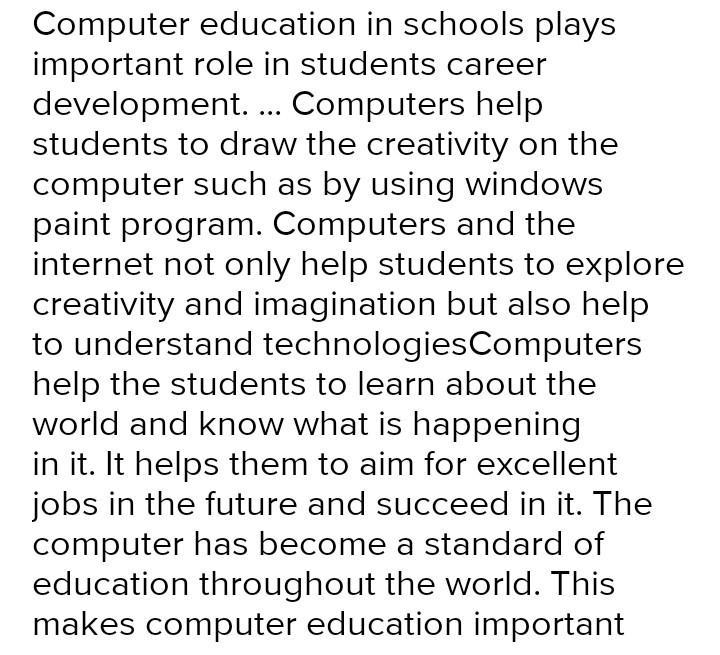 Computer education essay school thesis writing