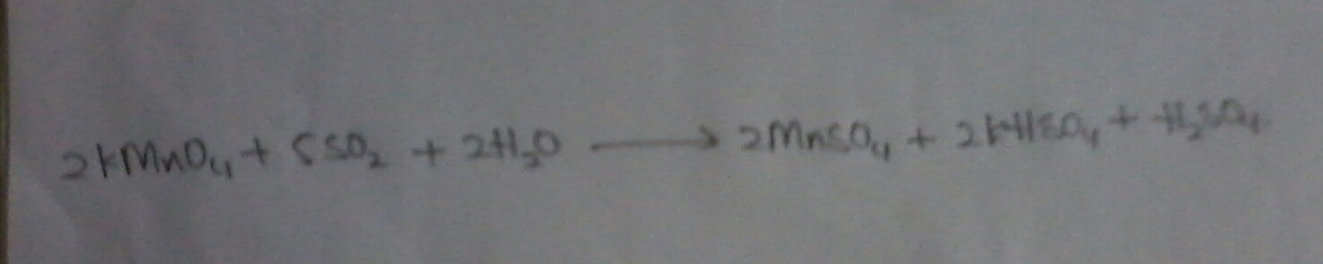 write the reaction of SO2 with acidified KMnO4 and write the product