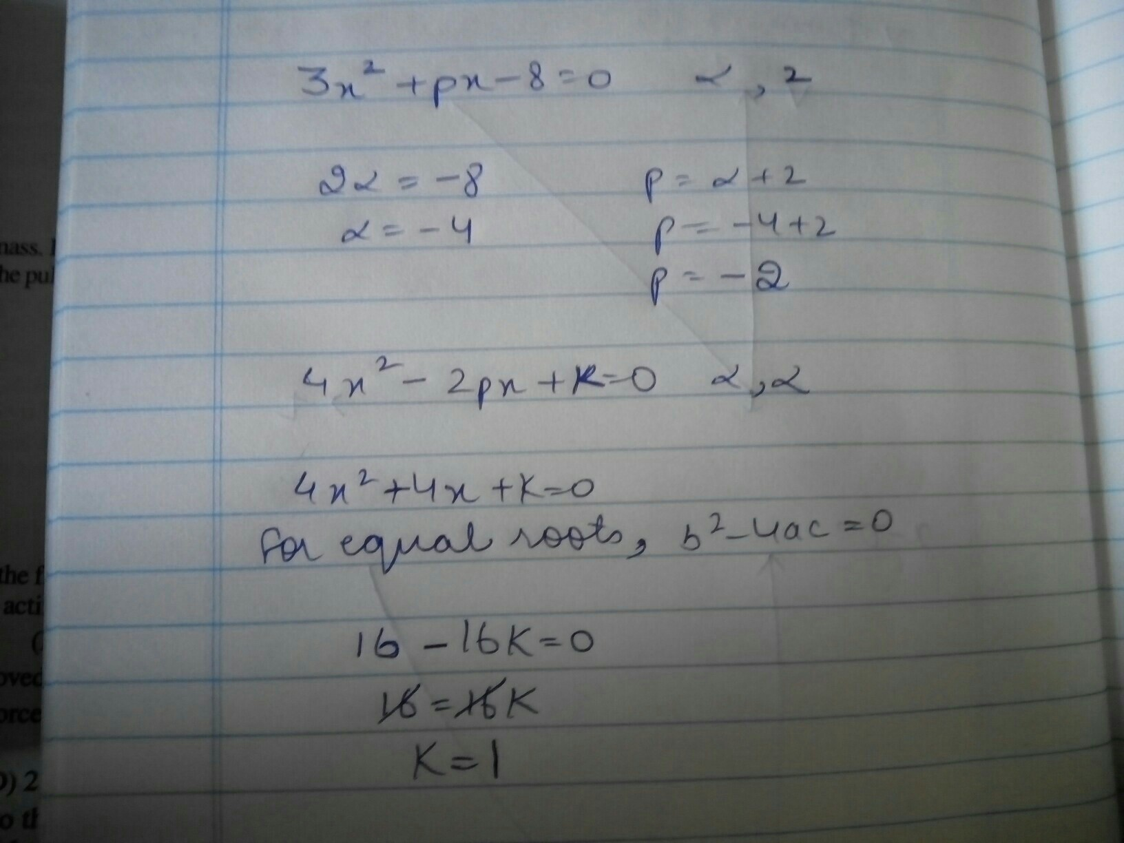 If 2 Is A Root Of The Quadratic Equation 3x2 + Px − 8 = 0