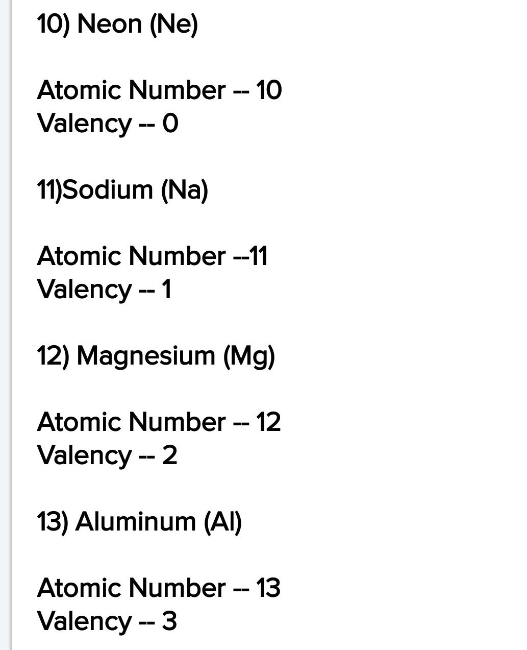 Valency Atomic Number And Symbol Of First 30 Elements In Periodic