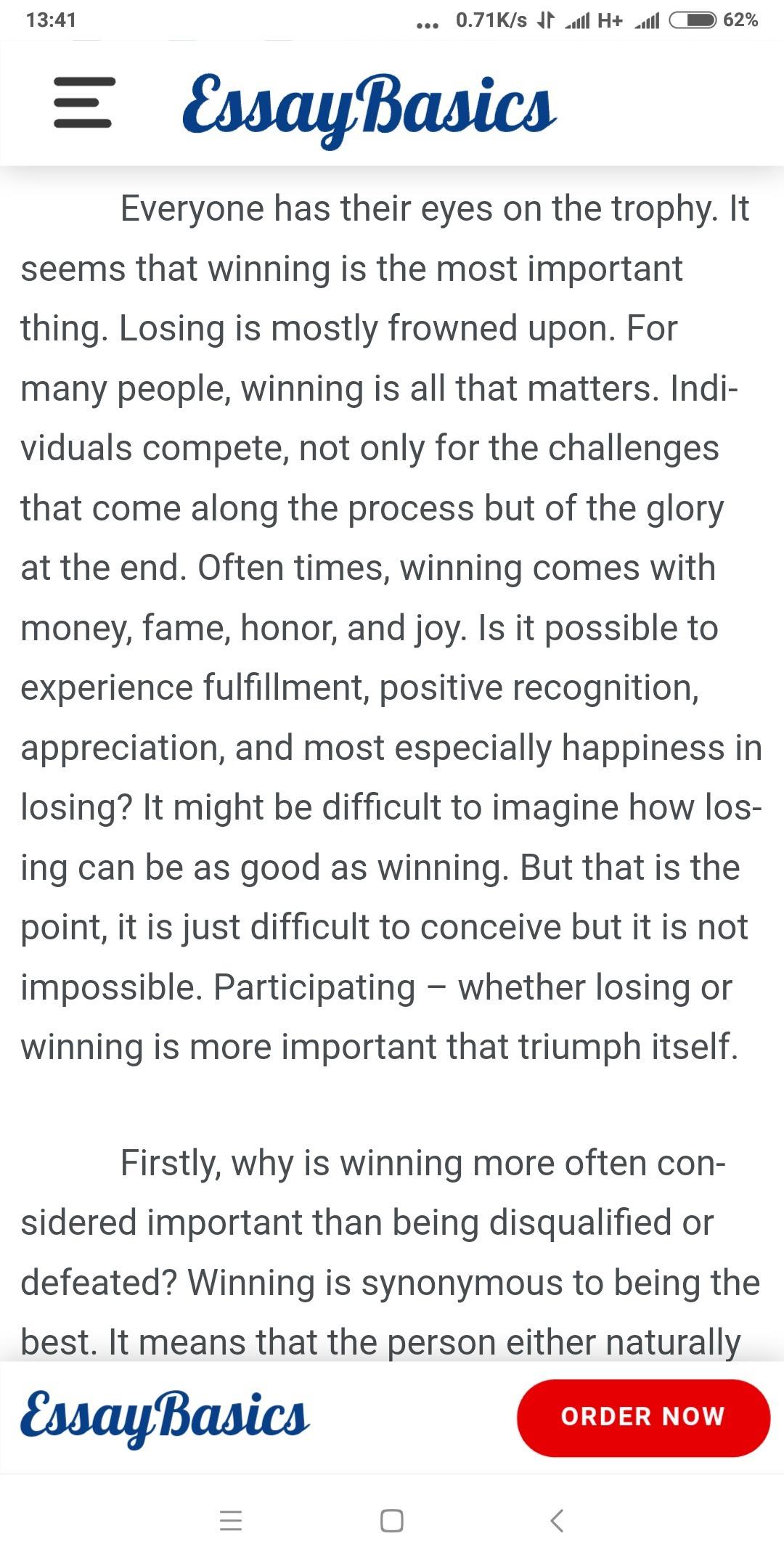 short poem on participation is more important than winning