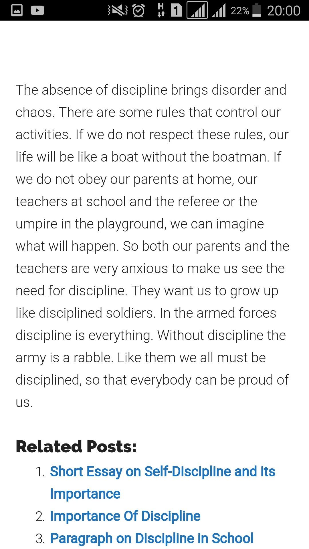 essay on discipline of school