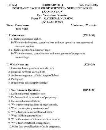 Bsc nursing question paper brainly in
