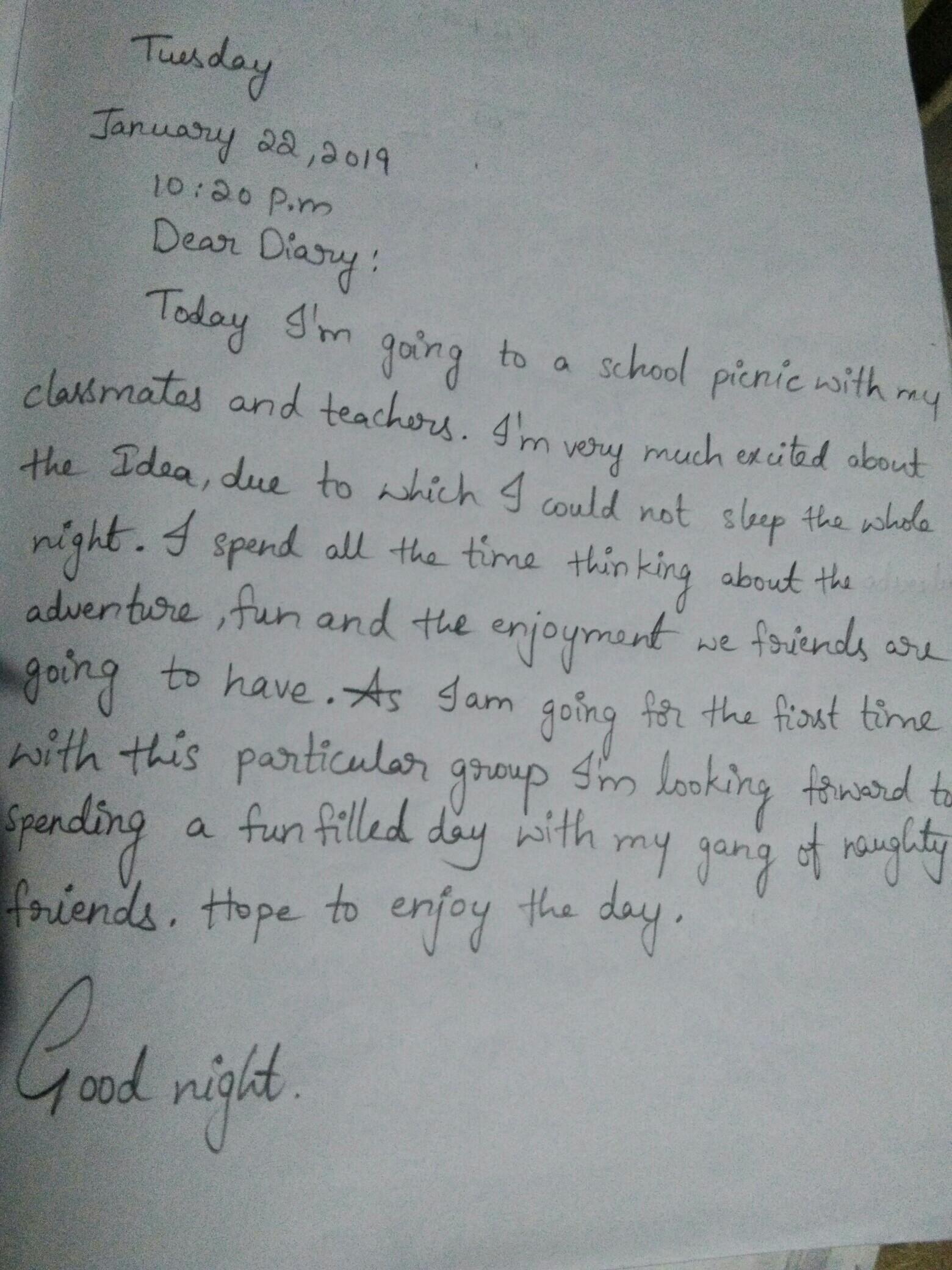 a picnic paragraph for class 7